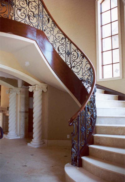 Wrought Iron Railing Circular Curved Staircase